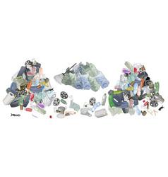 Pile of garbage garbage bags adn rake vector