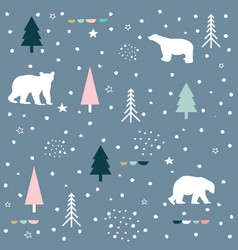 Polar bear mountain and forest seamless pattern vector