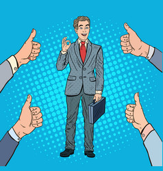 Pop art successful businessman gesturing ok vector
