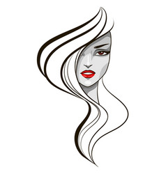 portrait of fashion girl vector image