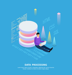 processing data isometric composition vector image