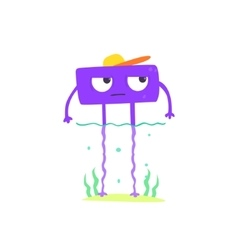 Purple Square Monster On The Beach vector