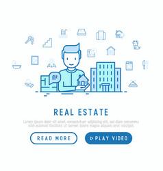 Real estate concept realtor showing apartment vector