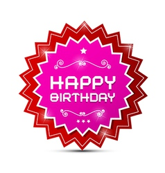 Red and Pink Happy Birthday Label on White vector image vector image