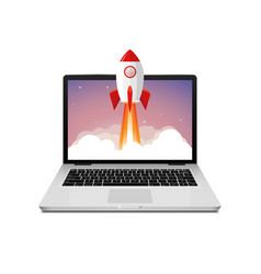 rocket launch website computer concept vector image