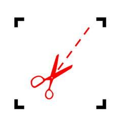 scissors sign red icon vector image