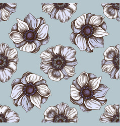 seamless pattern with hand drawn colored anemone vector image