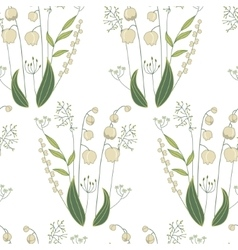 Seamless pattern with stylized cute lilies of the vector image