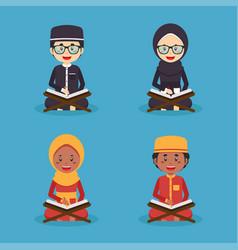 Set children reading quran vector