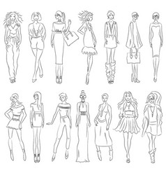 Set of fashion models vector
