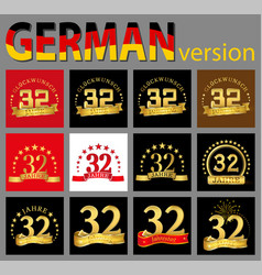 set of number thirty-two 32 years celebration vector image