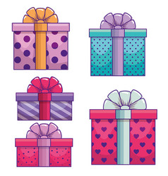set presents gifts with ribbon bow decoration vector image