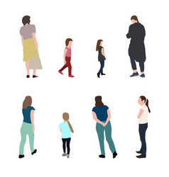set silhouette walking people and children vector image