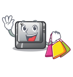 Shopping t button installed on character computer vector