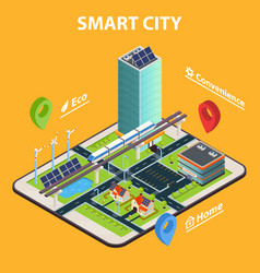Smart city tablet concept vector