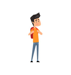 smiling boy standing with backpack vector image