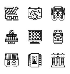 Solar panel icon set outline style vector