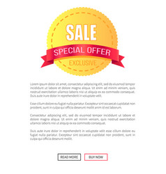 special offer sale round discount label on poster vector image