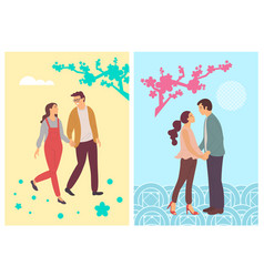spring blossoms abstract students in love people vector image