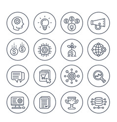 Startup line icons set vector
