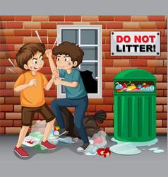 Street teen fighting next trash vector