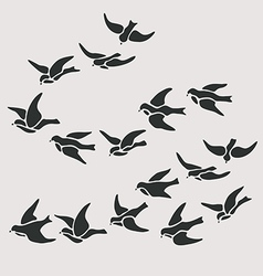 Swallow flocks silhouette set vector