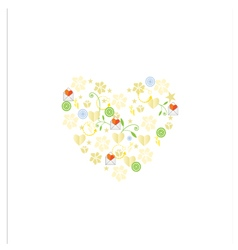 Template greeting card with flowers and hearts vector image