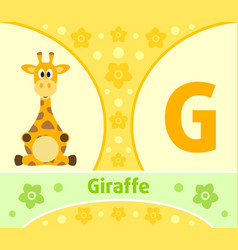 the english alphabet with giraffe vector image