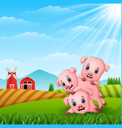 Three little pig playing in the hills vector