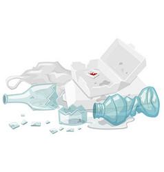 Used foam box and broken bottles on the floor vector