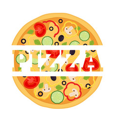 vegetarian pizza margherita logo label vector image