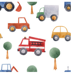 watercolor baby car vehicle pattern vector image