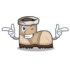 Wink working boot in shape cartoon beautiful vector