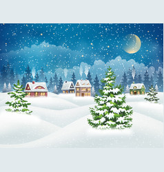 Winter snow covered village vector