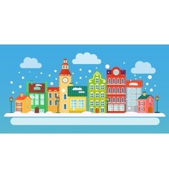 Winter urban landscape in flat style vector