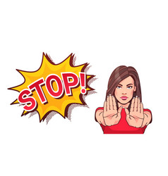 Woman gesturing no or stop sign showing raised vector