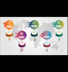 world map business infographics 5 step options vector image