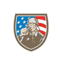 World War Two Soldier American Grenade Crest vector