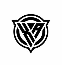 Xa logo with triangle shape and circle with vector