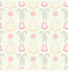 xmas sweets seamless pattern with candy cane stick vector image