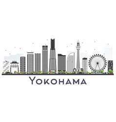 Yokohama japan skyline with color buildings vector