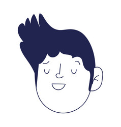 young man face character cartoon isolated icon on vector image