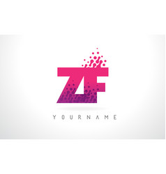 Zf z f letter logo with pink purple color and vector