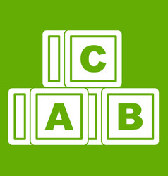abc cubes icon green vector image vector image