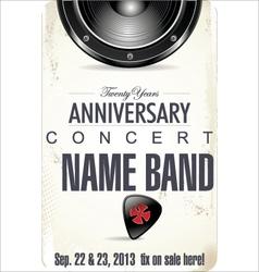 Anniversary Rock concert poster vector image vector image