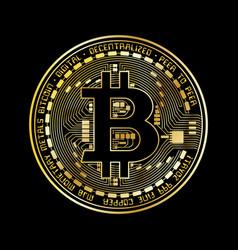 bitcoin coin gold silhouette vector image