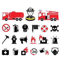 Fire department icons vector