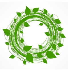 Green leaves wreath vector image