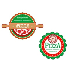 Italian pizza symbols and banners vector image vector image