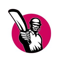 retro cricket icon vector image